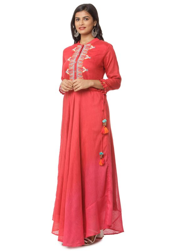 Red Colour Shadding Pure Cotton Long Kurti With Embroidery Yok