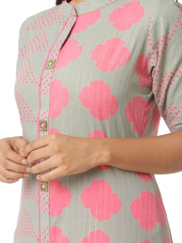Grey & Pink Colour Cotton Silk Computer Screening Straight Kurti