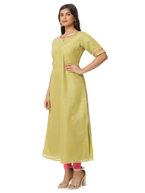 Mehndi Green Colour Lurex Zari Linning Party Wear  Straight Kurti