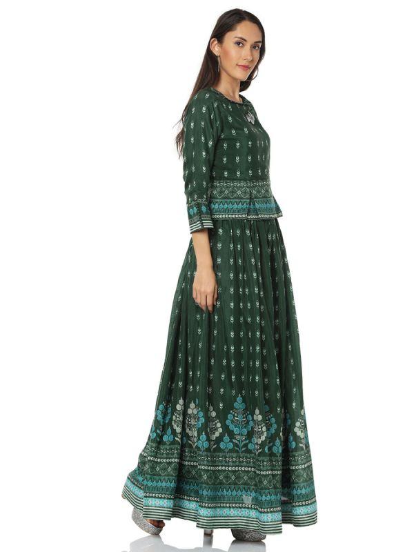 Dark Green Digital Print On Top And Skirt Yok Embroidery Work