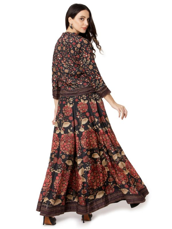 Black & Cream Digital Print On Top And Skirt With Yok Embroidery Work