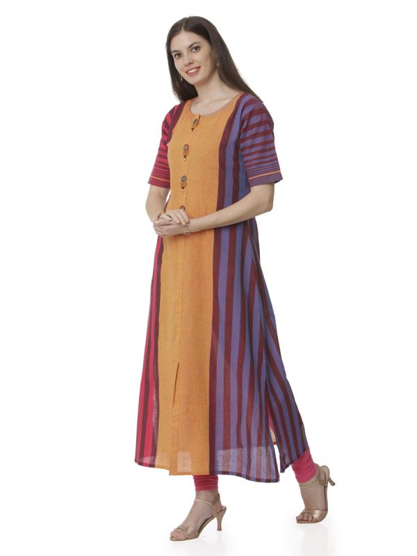 Multicolour Casual Wear Kurti With Strips Pattern