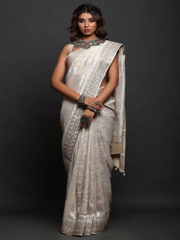 Cream Khadi Tussar Silk Saree